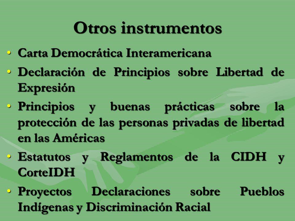 Otros instrumentos Carta Democrática InteramericanaCarta Democrática Interamericana Declaración de Principios sobre Libertad de ExpresiónDeclaración d