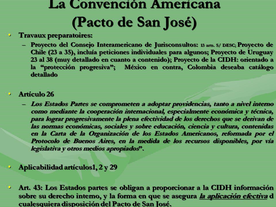 La Convención Americana (Pacto de San José) Travaux preparatoires:Travaux preparatoires: –Proyecto del Consejo Interamericano de Jurisconsultos: 13 ar