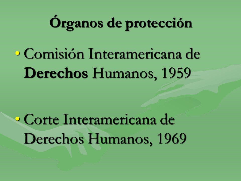Órganos de protección Comisión Interamericana de Derechos Humanos, 1959Comisión Interamericana de Derechos Humanos, 1959 Corte Interamericana de Derec
