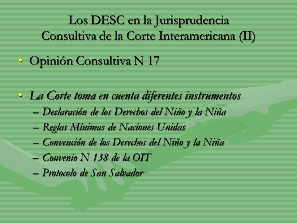Los DESC en la Jurisprudencia Consultiva de la Corte Interamericana (II) Opinión Consultiva N 17Opinión Consultiva N 17 La Corte toma en cuenta difere