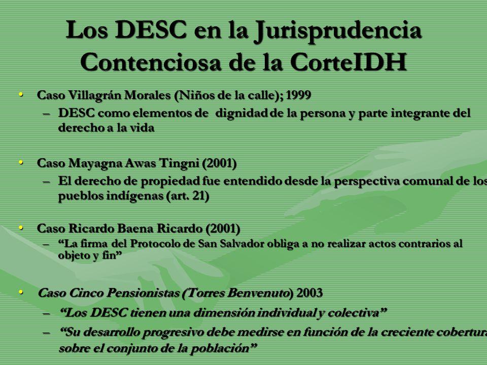 Los DESC en la Jurisprudencia Contenciosa de la CorteIDH Caso Villagrán Morales (Niños de la calle); 1999Caso Villagrán Morales (Niños de la calle); 1