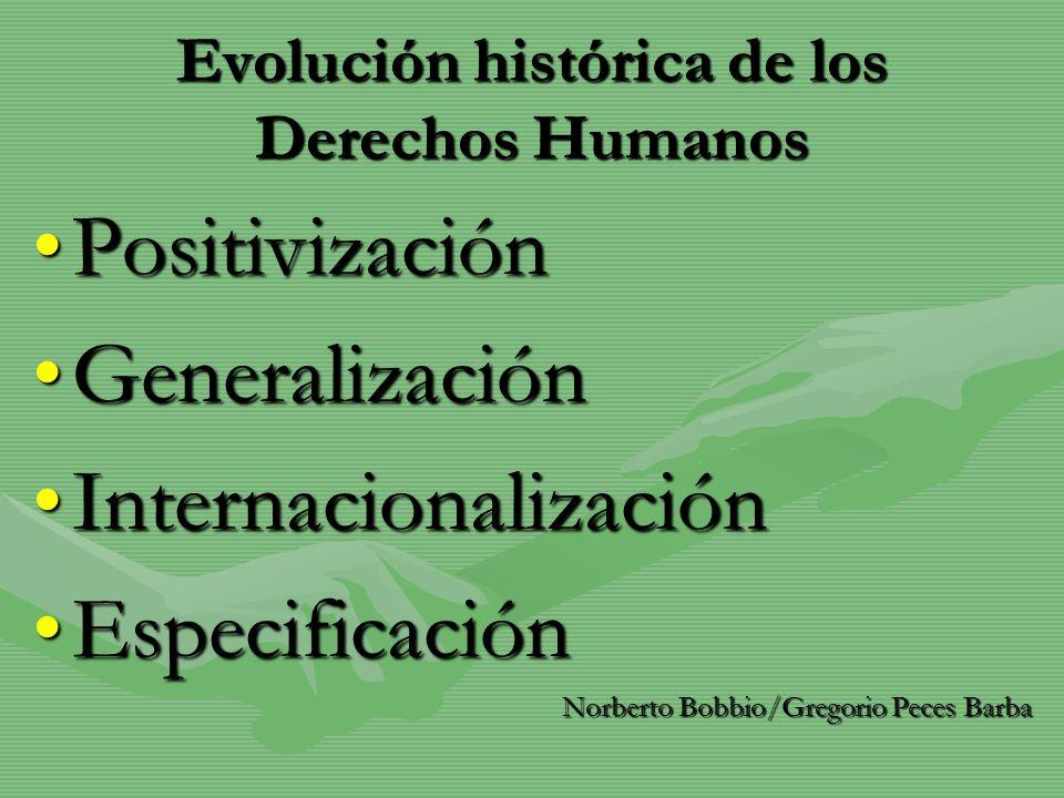Evolución histórica de los Derechos Humanos PositivizaciónPositivización GeneralizaciónGeneralización InternacionalizaciónInternacionalización Especif