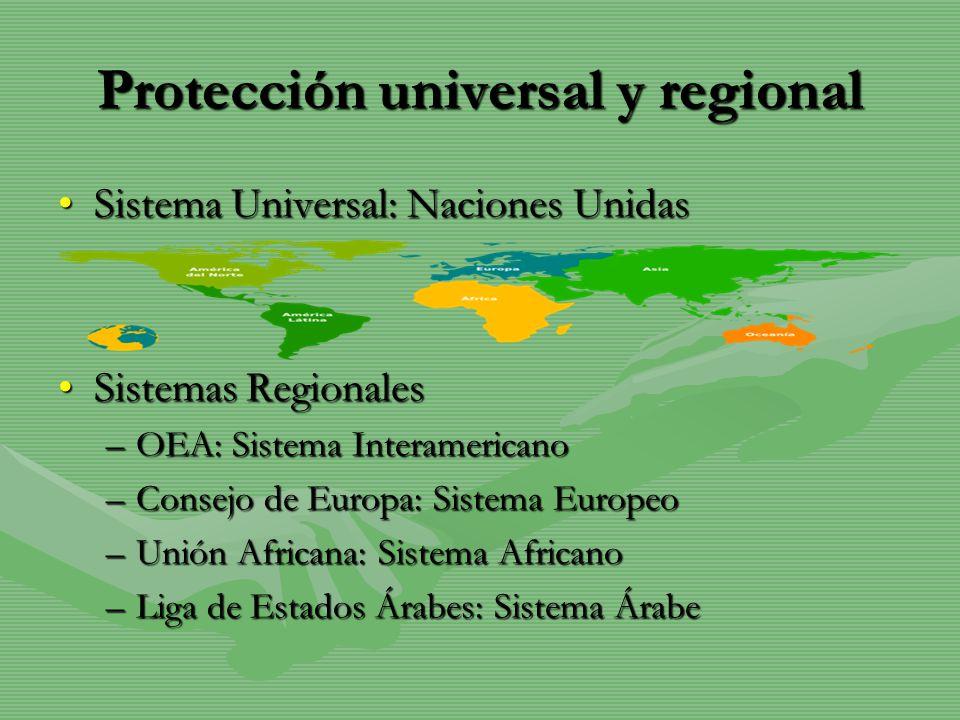 Protección universal y regional Sistema Universal: Naciones UnidasSistema Universal: Naciones Unidas Sistemas RegionalesSistemas Regionales –OEA: Sist