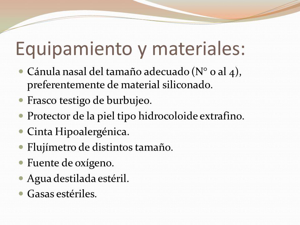 Equipamiento y materiales: Cánula nasal del tamaño adecuado (N° 0 al 4), preferentemente de material siliconado. Frasco testigo de burbujeo. Protector