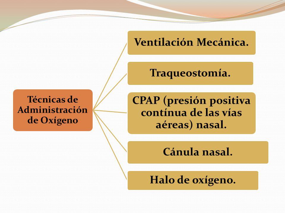 Técnicas de Administración de Oxígeno Ventilación Mecánica. Traqueostomía. CPAP (presión positiva contínua de las vías aéreas) nasal. Cánula nasal. Ha