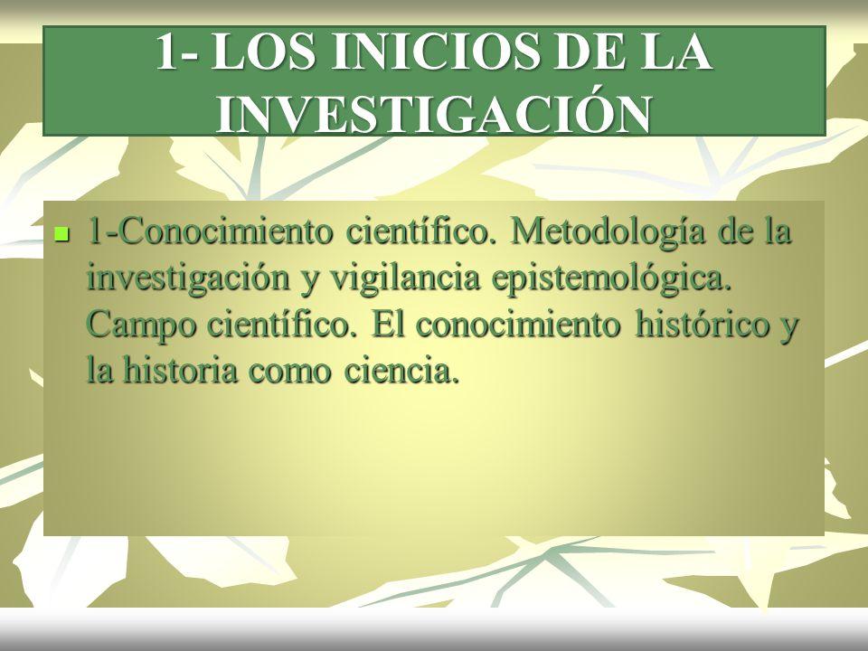 1- LOS INICIOS DE LA INVESTIGACIÓN 1-Conocimiento científico. Metodología de la investigación y vigilancia epistemológica. Campo científico. El conoci