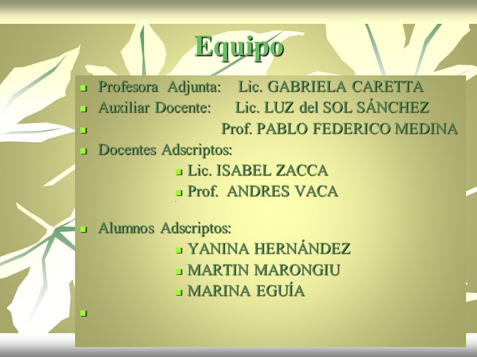 Equipo Profesora Adjunta: Lic. GABRIELA CARETTA Profesora Adjunta: Lic. GABRIELA CARETTA Auxiliar Docente: Lic. LUZ del SOL SÁNCHEZ Auxiliar Docente: