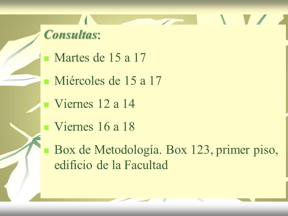 Consultas: Martes de 15 a 17 Miércoles de 15 a 17 Viernes 12 a 14 Viernes 16 a 18 Box de Metodología. Box 123, primer piso, edificio de la Facultad