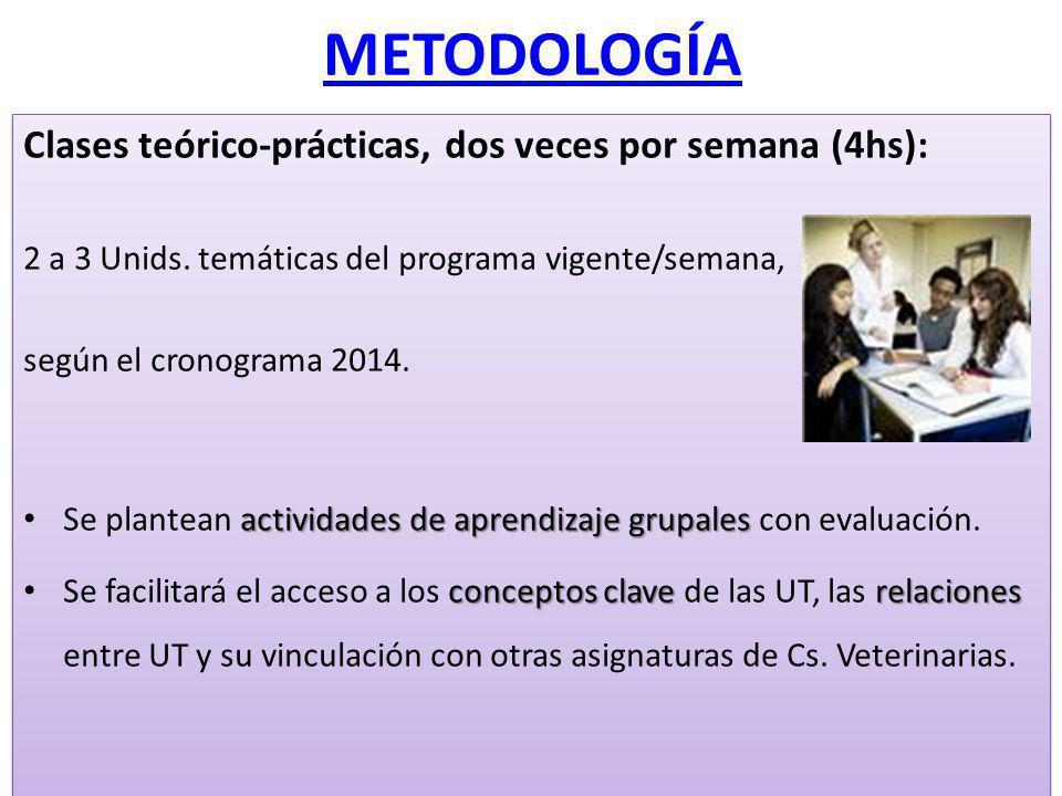 METODOLOGÍA Clases teórico-prácticas, dos veces por semana (4hs): 2 a 3 Unids. temáticas del programa vigente/semana, según el cronograma 2014. activi