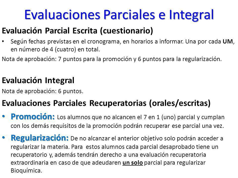 Evaluaciones Parciales e Integral Evaluación Parcial Escrita (cuestionario) Según fechas previstas en el cronograma, en horarios a informar. Una por c