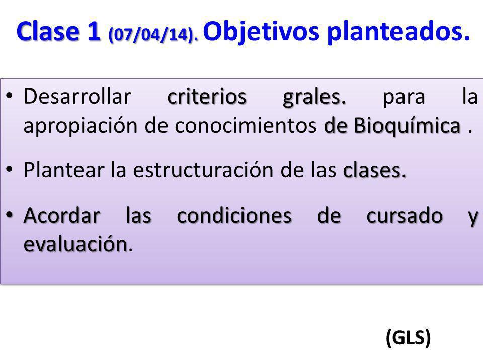 criterios grales. de Bioquímica Desarrollar criterios grales. para la apropiación de conocimientos de Bioquímica. clases. Plantear la estructuración d