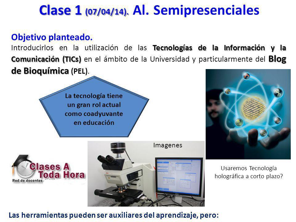 Objetivo planteado. Tecnologías de la Información y la Comunicación (TICs) Blog de Bioquímica Introducirlos en la utilización de las Tecnologías de la
