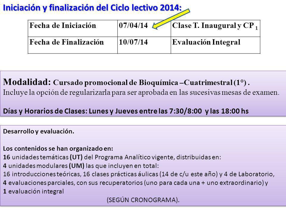 Fecha de Iniciación07/04/14Clase T. Inaugural y CP 1 Fecha de Finalización10/07/14Evaluación Integral Iniciación y finalización del Ciclo lectivo 2014