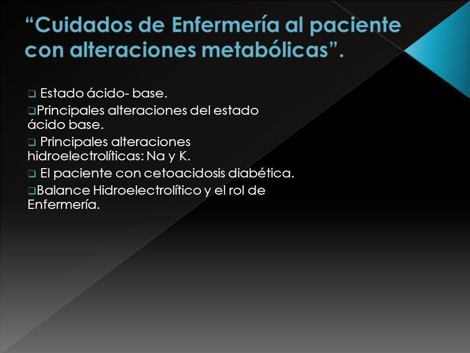 Estado ácido- base. Principales alteraciones del estado ácido base. Principales alteraciones hidroelectrolíticas: Na y K. El paciente con cetoacidosis