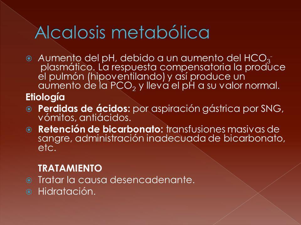 Aumento del pH, debido a un aumento del HCO 3 - plasmático. La respuesta compensatoria la produce el pulmón (hipoventilando) y así produce un aumento