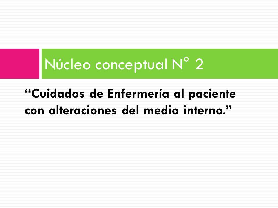Cuidados de Enfermería al paciente con alteraciones del medio interno. Núcleo conceptual N° 2