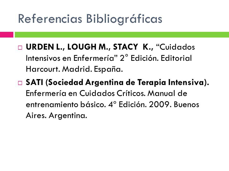 Referencias Bibliográficas URDEN L., LOUGH M., STACY K., Cuidados Intensivos en Enfermería 2° Edición. Editorial Harcourt. Madrid. España. SATI (Socie