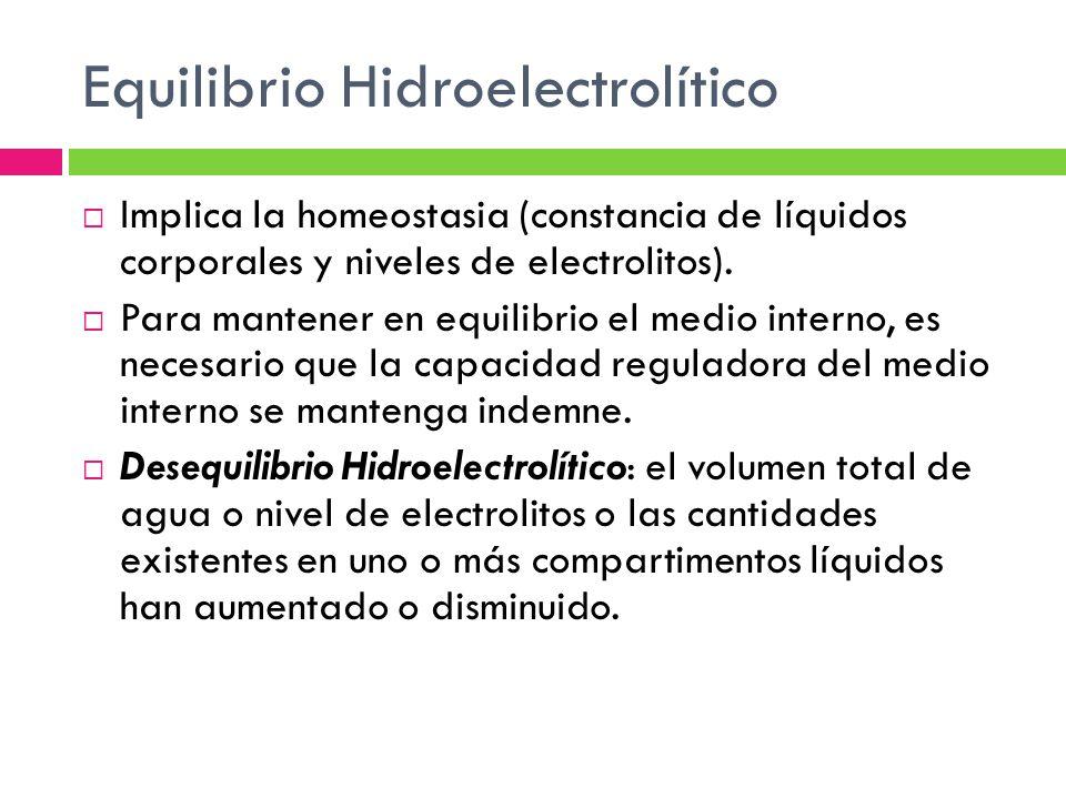 Los trastornos del equilibrio hidroelectrolítico afectan a las funciones de transporte y regulación del sistema de líquidos, el equilibrio ácido base, la regulación de la temperatura y la transmisión de energía eléctrica para las funciones mecánica y nerviosa.
