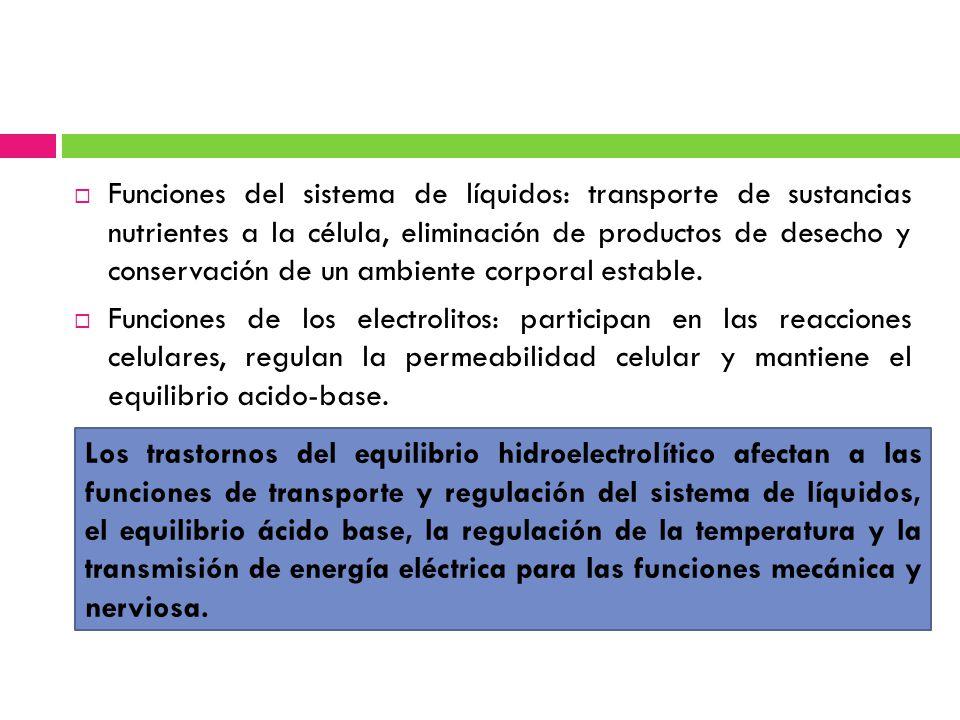 Los trastornos del equilibrio hidroelectrolítico afectan a las funciones de transporte y regulación del sistema de líquidos, el equilibrio ácido base,