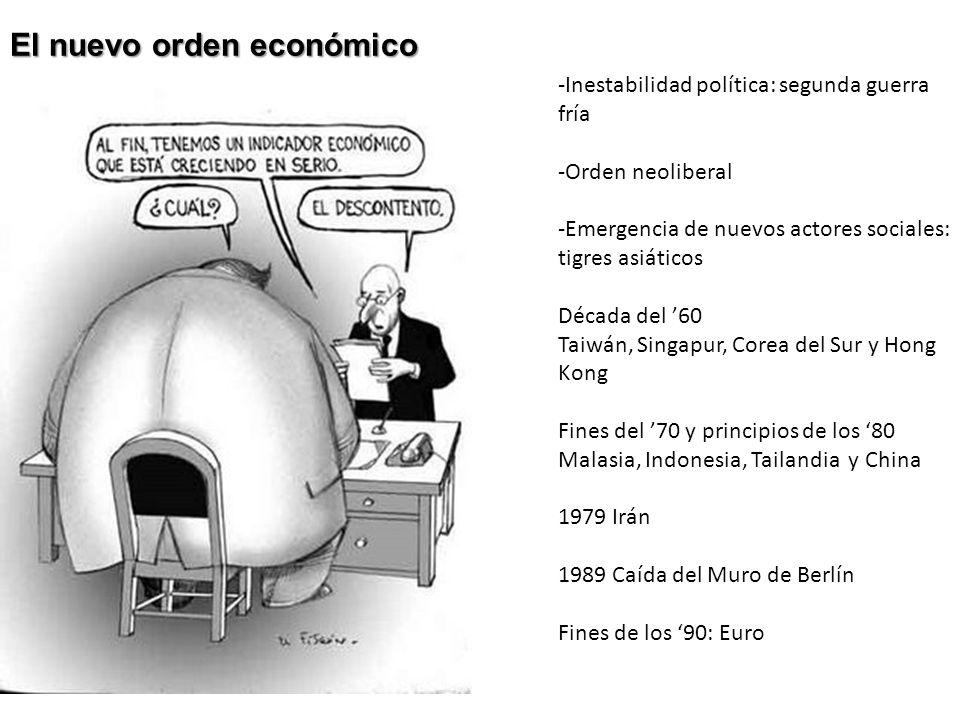 El nuevo orden económico -Inestabilidad política: segunda guerra fría -Orden neoliberal -Emergencia de nuevos actores sociales: tigres asiáticos Décad