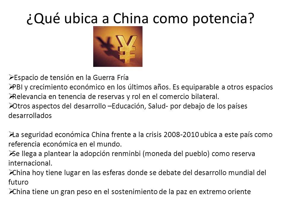 ¿Qué ubica a China como potencia.