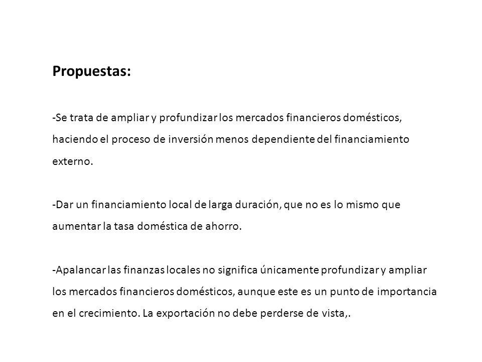 Propuestas: -Se trata de ampliar y profundizar los mercados financieros domésticos, haciendo el proceso de inversión menos dependiente del financiamie