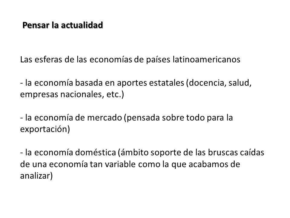 Pensar la actualidad Las esferas de las economías de países latinoamericanos - la economía basada en aportes estatales (docencia, salud, empresas nacionales, etc.) - la economía de mercado (pensada sobre todo para la exportación) - la economía doméstica (ámbito soporte de las bruscas caídas de una economía tan variable como la que acabamos de analizar)