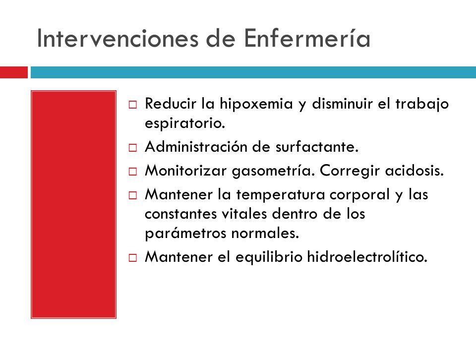 Intervenciones de Enfermería Reducir la hipoxemia y disminuir el trabajo espiratorio.