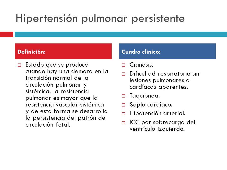 Hipertensión pulmonar persistente Estado que se produce cuando hay una demora en la transición normal de la circulación pulmonar y sistémica, la resistencia pulmonar es mayor que la resistencia vascular sistémica y de esta forma se desarrolla la persistencia del patrón de circulación fetal.