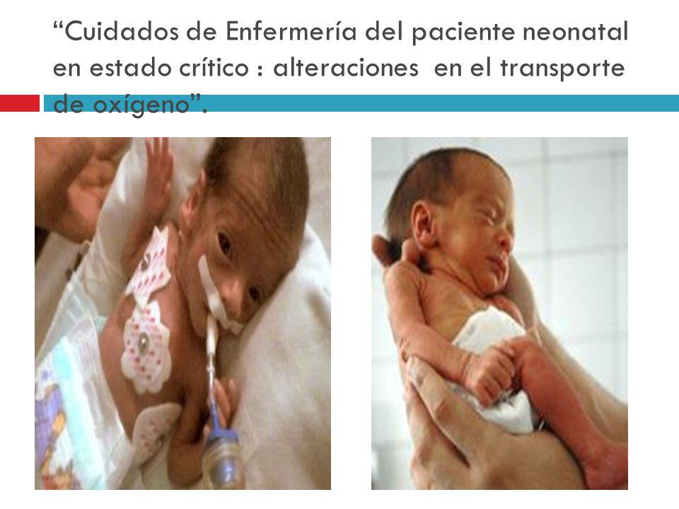 Cuidados de Enfermería del paciente neonatal en estado crítico : alteraciones en el transporte de oxígeno.