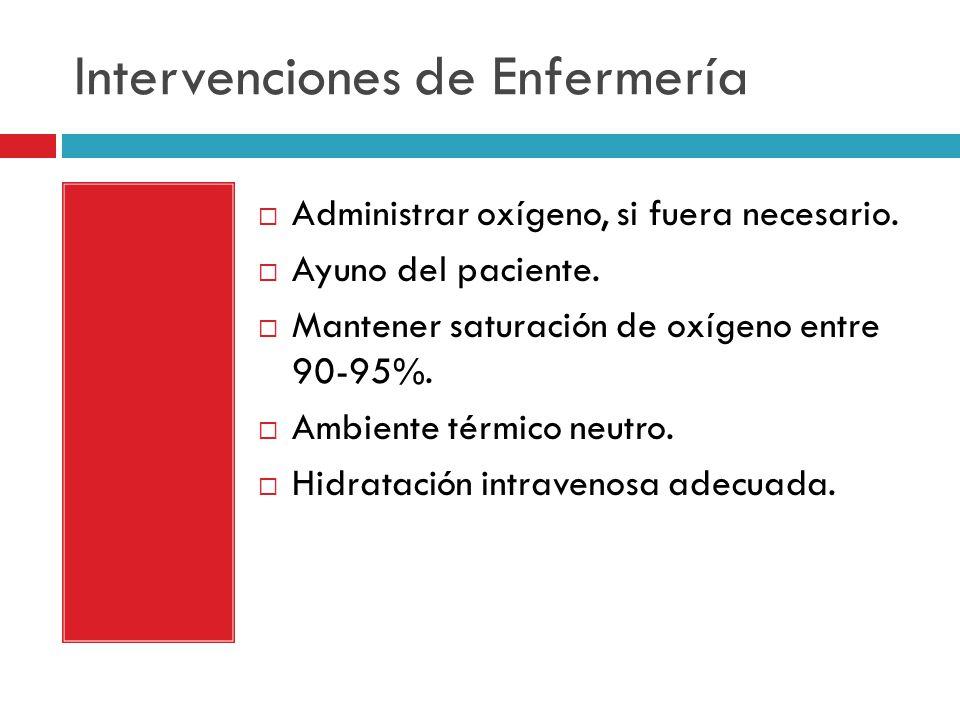 Intervenciones de Enfermería Administrar oxígeno, si fuera necesario.