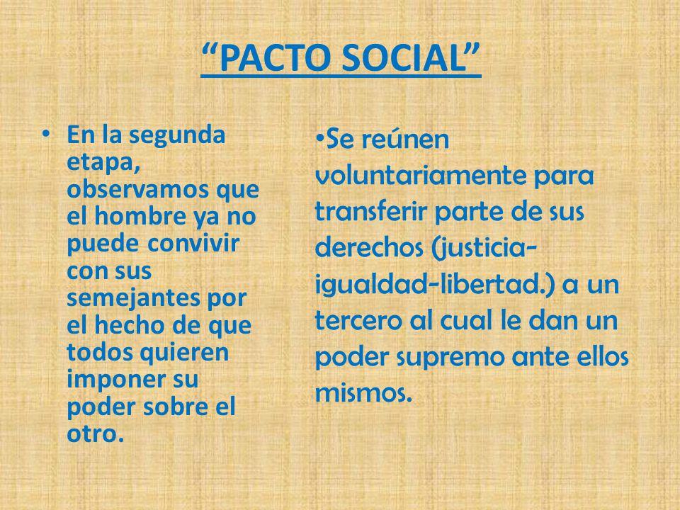 PACTO SOCIAL En la segunda etapa, observamos que el hombre ya no puede convivir con sus semejantes por el hecho de que todos quieren imponer su poder