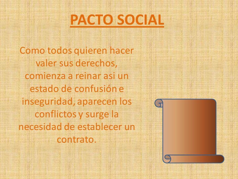 PACTO SOCIAL Como todos quieren hacer valer sus derechos, comienza a reinar asi un estado de confusión e inseguridad, aparecen los conflictos y surge