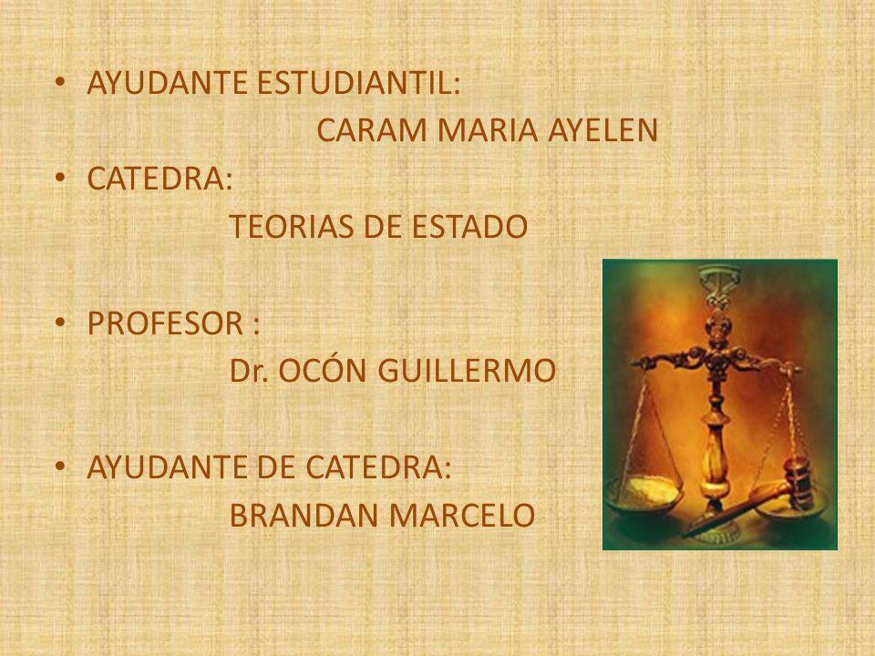 AYUDANTE ESTUDIANTIL: CARAM MARIA AYELEN CATEDRA: TEORIAS DE ESTADO PROFESOR : Dr. OCÓN GUILLERMO AYUDANTE DE CATEDRA: BRANDAN MARCELO