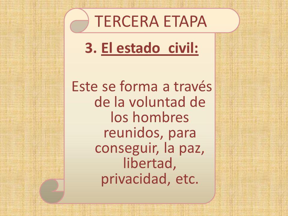 TERCERA ETAPA 3.El estado civil: Este se forma a través de la voluntad de los hombres reunidos, para conseguir, la paz, libertad, privacidad, etc.
