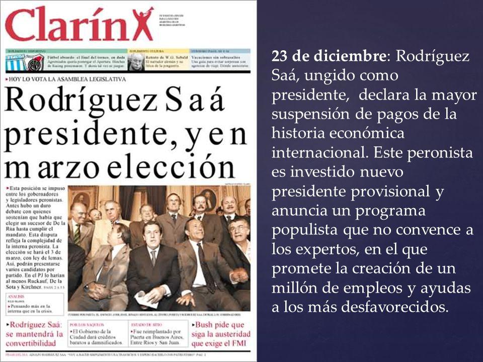 23 de diciembre: Rodríguez Saá, ungido como presidente, declara la mayor suspensión de pagos de la historia económica internacional. Este peronista es