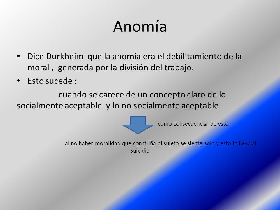 Anomía Dice Durkheim que la anomia era el debilitamiento de la moral, generada por la división del trabajo. Esto sucede : cuando se carece de un conce