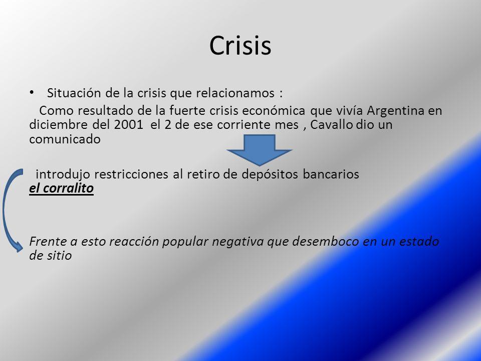 Crisis Situación de la crisis que relacionamos : Como resultado de la fuerte crisis económica que vivía Argentina en diciembre del 2001 el 2 de ese co