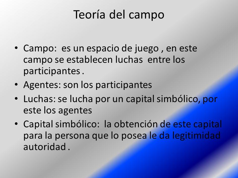 Teoría del campo Campo: es un espacio de juego, en este campo se establecen luchas entre los participantes. Agentes: son los participantes Luchas: se