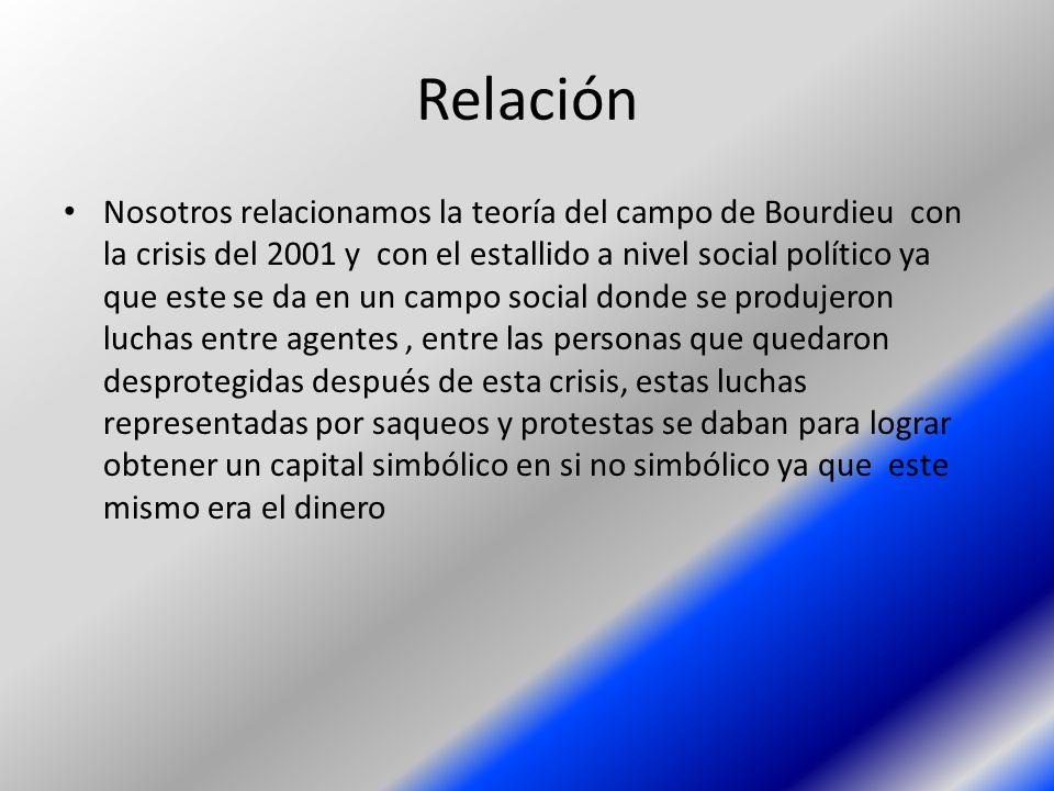 Relación Nosotros relacionamos la teoría del campo de Bourdieu con la crisis del 2001 y con el estallido a nivel social político ya que este se da en