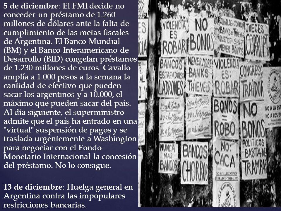5 de diciembre: El FMI decide no conceder un préstamo de 1.260 millones de dólares ante la falta de cumplimiento de las metas fiscales de Argentina. E