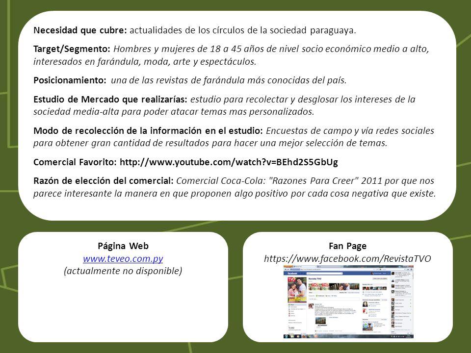 Necesidad que cubre: actualidades de los círculos de la sociedad paraguaya. Target/Segmento: Hombres y mujeres de 18 a 45 años de nivel socio económic