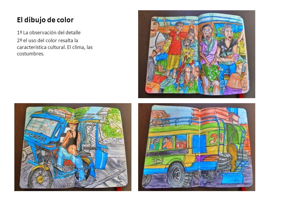 El dibujo de color 1º La observación del detalle 2º el uso del color resalta la característica cultural.