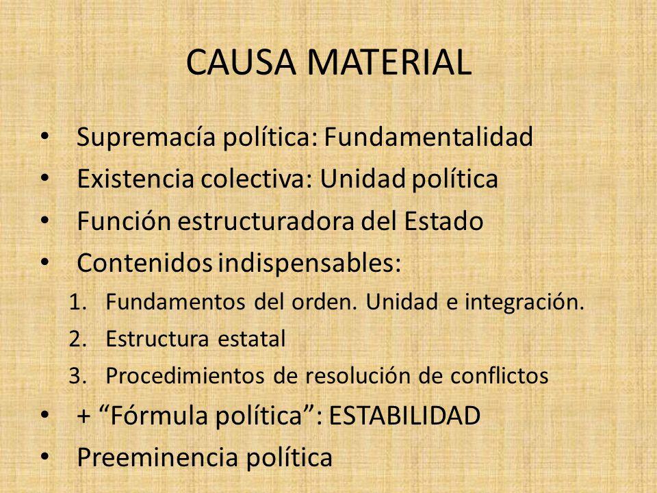 CAUSA MATERIAL Supremacía política: Fundamentalidad Existencia colectiva: Unidad política Función estructuradora del Estado Contenidos indispensables: