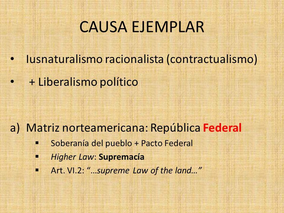 CAUSA EJEMPLAR Iusnaturalismo racionalista (contractualismo) + Liberalismo político a)Matriz norteamericana: República Federal Soberanía del pueblo +