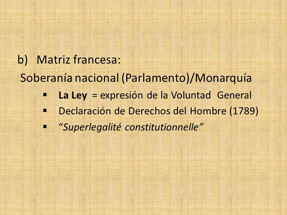 b) Matriz francesa: Soberanía nacional (Parlamento)/Monarquía La Ley = expresión de la Voluntad General Declaración de Derechos del Hombre (1789) Supe