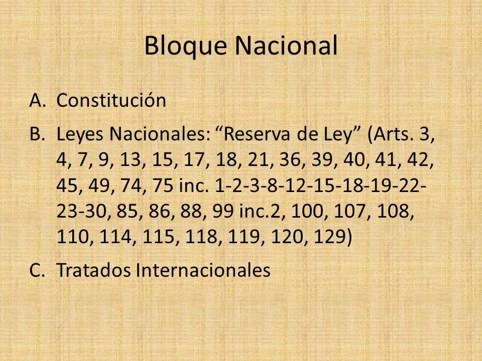 Bloque Nacional A.Constitución B.Leyes Nacionales: Reserva de Ley (Arts. 3, 4, 7, 9, 13, 15, 17, 18, 21, 36, 39, 40, 41, 42, 45, 49, 74, 75 inc. 1-2-3