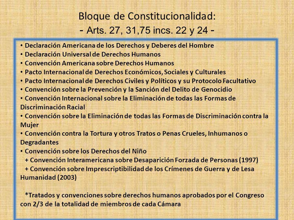 Bloque de Constitucionalidad: - Arts. 27, 31,75 incs. 22 y 24 - Declaración Americana de los Derechos y Deberes del Hombre Declaración Universal de De