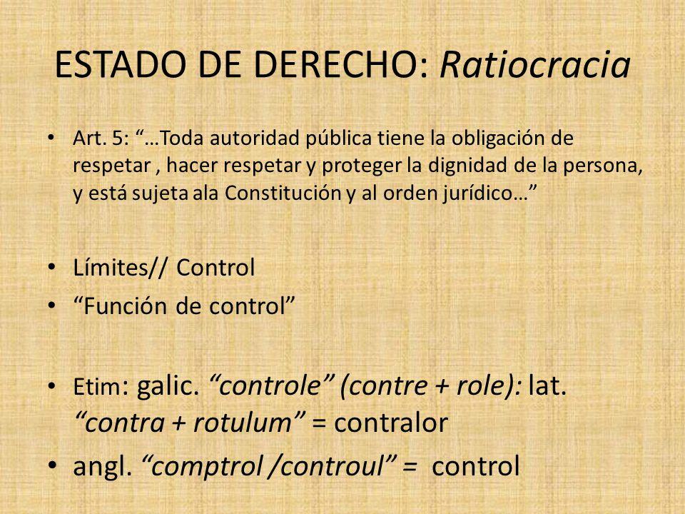ESTADO DE DERECHO: Ratiocracia Art. 5: …Toda autoridad pública tiene la obligación de respetar, hacer respetar y proteger la dignidad de la persona, y