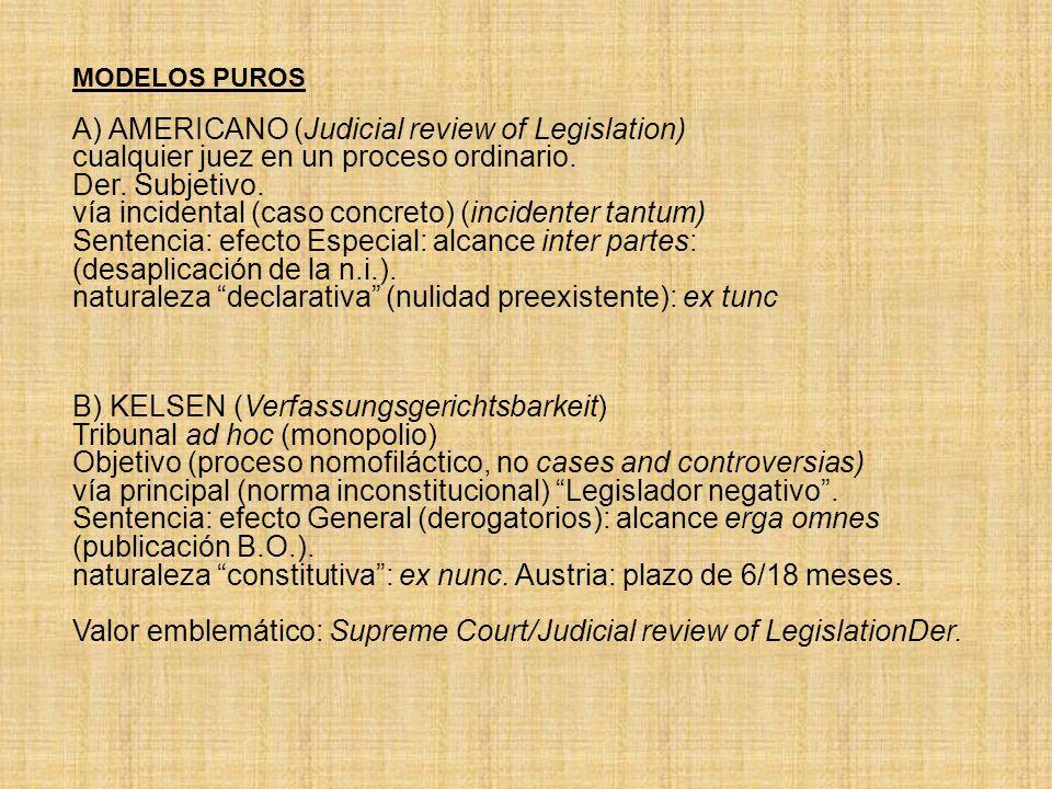 MODELOS PUROS A) AMERICANO (Judicial review of Legislation) cualquier juez en un proceso ordinario. Der. Subjetivo. vía incidental (caso concreto) (in